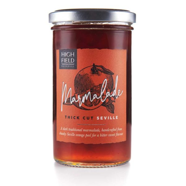 A jar of Highfield Thick Cut Seville Marmalade